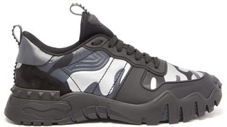 Valentino Garavani - Rockrunner Camouflage Leather And Canvas Trainers - Mens - Black Silver