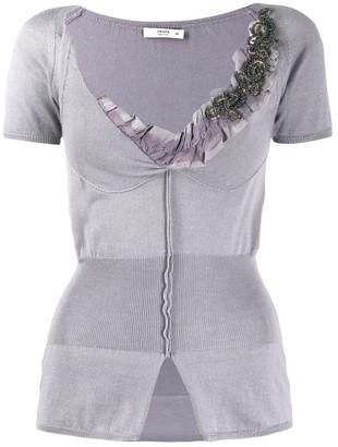 Prada Pre Owned Bead Embellished Top