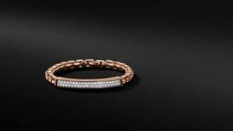 David Yurman Box Chain Id Bracelet In 18K Rose Gold With Diamonds