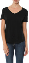 Monrow V Neck Tee With Distressed Border