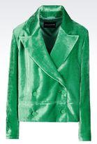 Emporio Armani Double-Breasted Runway Jacket In Velvet