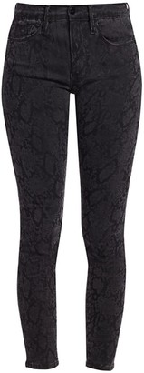Frame Le Skinny de Jeanne Mid-Rise Crop Python Print Jeans