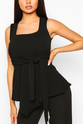 boohoo Crepe Square Neck Asymmetric Belted Top