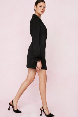 Nasty Gal Womens Bridal Feather Cuff Blazer Mini Dress - Black - 14