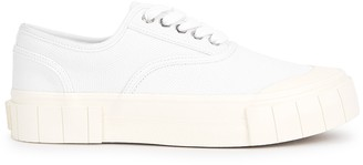 Good News Ace white woven canvas flatform sneakers