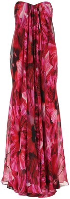 Alexander McQueen Floral Draped Maxi Dress