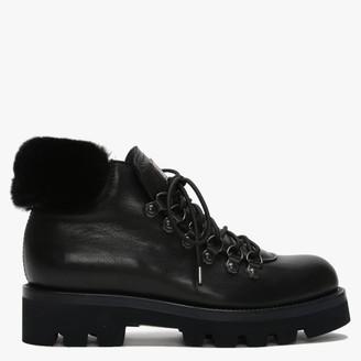 Calpierre Sagata Black Leather Fur Cuff Walking Boots