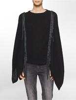 Calvin Klein Mohair Blend Fringe Poncho