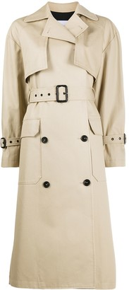 MSGM Double-Breasted Belted Trench Coat