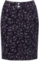 M&Co Petite floral print cord skirt