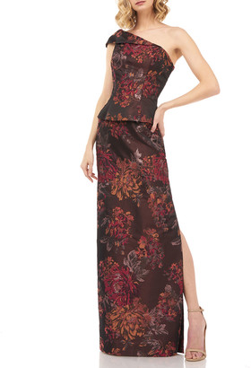 Kay Unger New York Asia One-Shoulder Floral Jacquard Peplum Column Gown