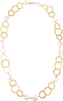 Kenneth Jay Lane Long Golden Pearly Nugget Station Necklace