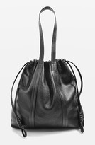 Topshop Leather Drawstring Shoulder Bag - Black
