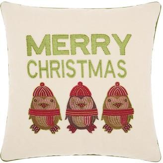"""Kathy Ireland Penguin """"Merry Christmas"""" Throw Pillow"""