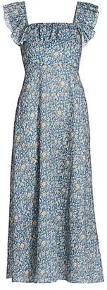 Zimmermann Carnaby Ruffle Floral Midi Dress