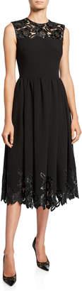 Huishan Zhang Sleeveless Faux-Leather Lace Dress