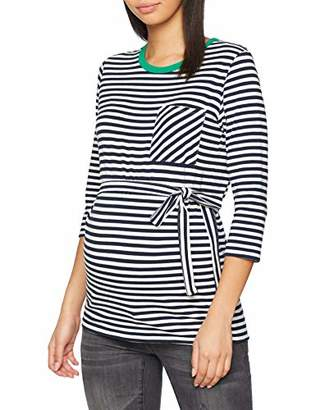 Mama Licious Mamalicious Women's Mlgina 3/4 Jersey Top A. V. Vest, Multicolour Blazer Y/D Stripes Navy Blazer & Snow White, 12 (Size: Medium)