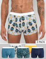 Asos Trunks With Geo-Tribal Print 5 Pack SAVE
