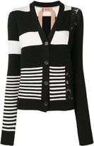No.21 lace panel striped cardigan