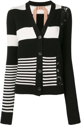 No.21 Lace Panel Striped Cardigan