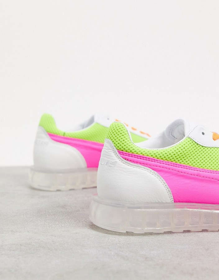 Thumbnail for your product : Joshua Sanders low top trainer with transparent sole in neon pink and yellow