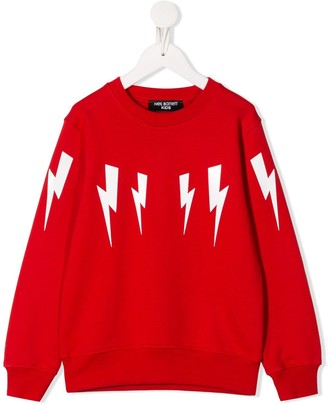 Neil Barrett Kids Lightning Bolt Print Sweatshirt