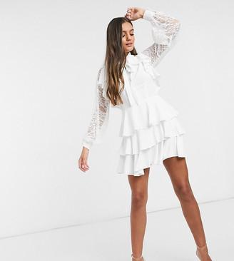 John Zack Petite ruffle lace-sleeved mini tiered skater dress in white
