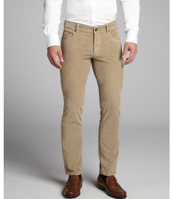 Prada khaki corduroy straight leg pants