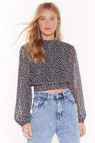 Womens Hang Back Cropped Polka Dot Blouse - black - 14