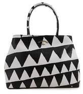 Anglomania Women's White/black Leather Tote.