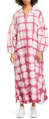 Alea Crochet Trim Tie Dye Long Sleeve Organic Cotton Midi Dress