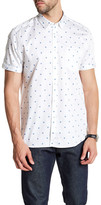 Ted Baker Short Sleeve Floral Print Trim Fit Shirt