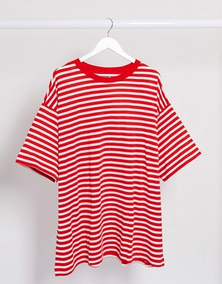 Weekday Huge organic cotton striped oversized t-shirt dress in red and white