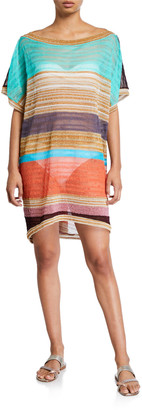 Missoni Mare Striped Boat-Neck Short Coverup Caftan