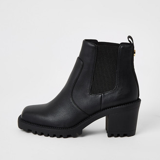 River Island Black square toe heeled ankle boots