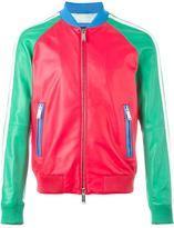 DSQUARED2 colour block bomber jacket - men - Cotton/Lamb Skin/Polyester/Viscose - 48
