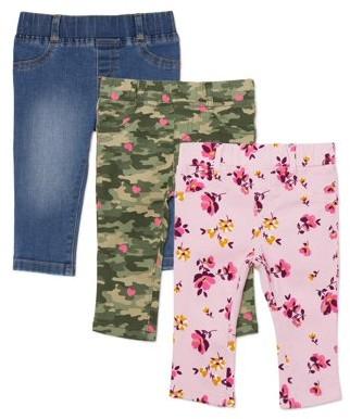 Garanimals Baby Girl Denim & Twill Pants, 3-Pack