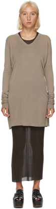 Rick Owens Brown Silk V-Neck Long Sleeve T-Shirt