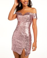 B. Darlin Juniors' Off-The-Shoulder Sequined Bodycon Dress