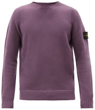 Stone Island Logo-patch Wool-blend Sweater - Purple