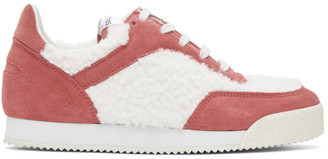 Comme des Garçons Shirt Pink and White Spalwart Edition Pitch Low Sneakers