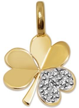 Alex Woo Diamond Mini Shamrock Charm Pendant (1/20 ct. t.w.) in 14k Gold