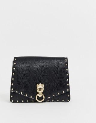 Asos Design DESIGN hardware satchel with stud detail-Black