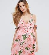 Asos Pretty Floral Cold Shoulder Mini Smock Dress