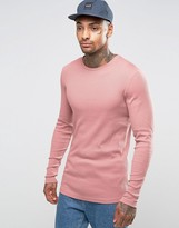 Asos Rib Longline Muscle Long Sleeve T-Shirt With Curved Hem In Pink