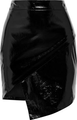 Mason by Michelle Mason Asymmetric Wrap-effect Glossed-leather Mini Skirt