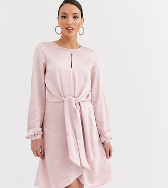 Y.A.S Tall Oichi long sleeve knot front satin mini dress