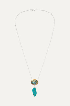 Melissa Joy Manning Sterling Silver And 14-karat Gold, Shell And Chrysocolla Necklace