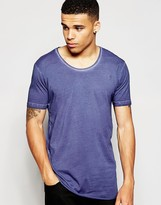 Antioch Longline T-Shirt In Oil Wash With Scoop Neck