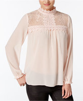 Amy Byer Juniors' Lace-Yoke Blouse
